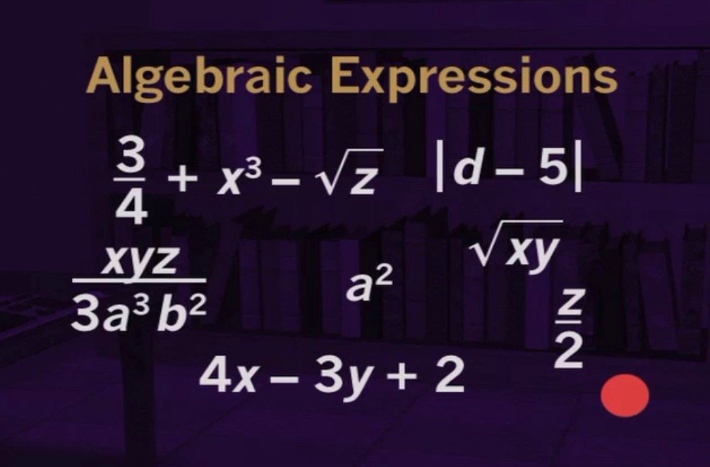 showing algebraic expressions