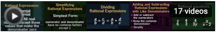 Images explaining rational expressions, adding, subtracting, dividing, simplifying them