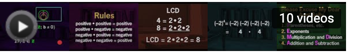 images: rules for multiplying integers, LCD, order of operations